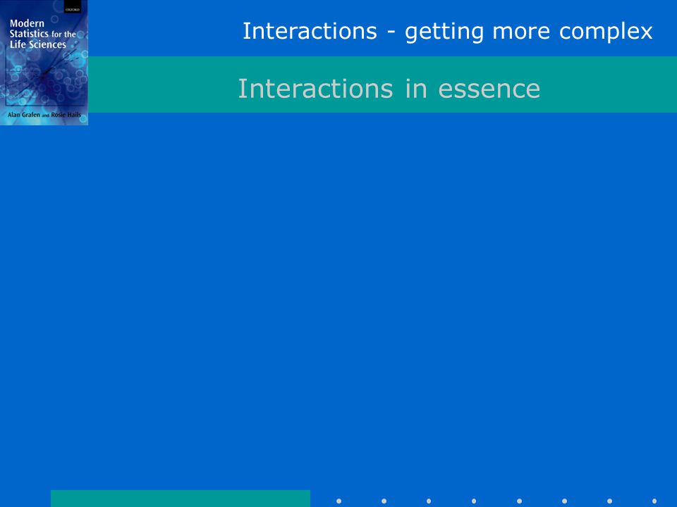 Interactions - getting more complex Interactions in essence