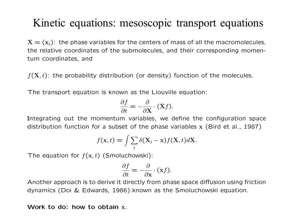 Kinetic equations: mesoscopic transport equations
