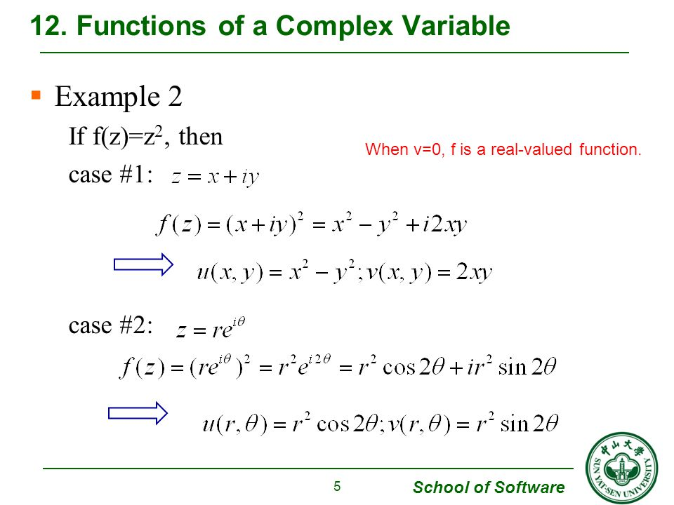School of Software Example 2 If f(z)=z 2, then case #1: case #2: 12.