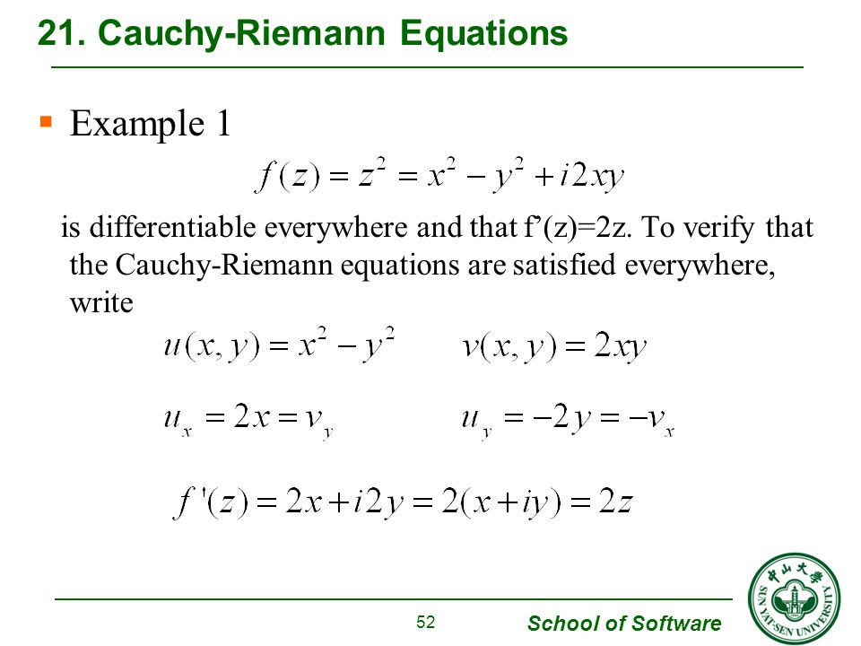 School of Software Example 1 is differentiable everywhere and that f(z)=2z.