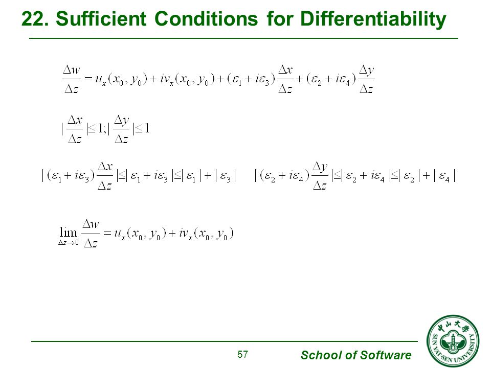 School of Software 22. Sufficient Conditions for Differentiability 57