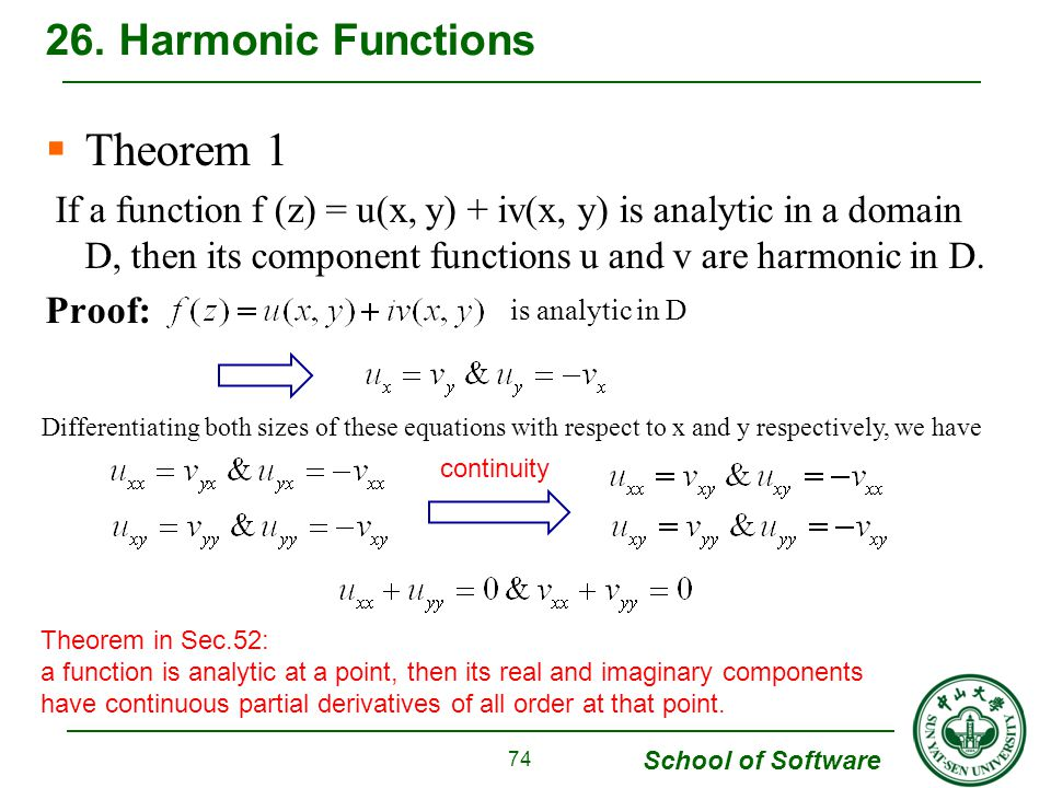 School of Software Theorem 1 If a function f (z) = u(x, y) + iv(x, y) is analytic in a domain D, then its component functions u and v are harmonic in D.