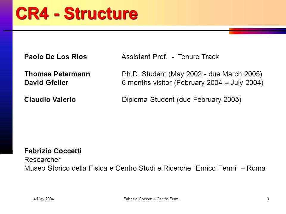 14 May 2004 Fabrizio Coccetti - Centro Fermi3 Paolo De Los Rios Assistant Prof.