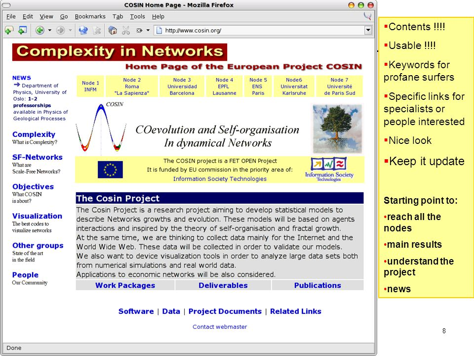 14 May 2004 Fabrizio Coccetti - Centro Fermi9 Work Packages point directly to Web Pages maintained by partner nodes
