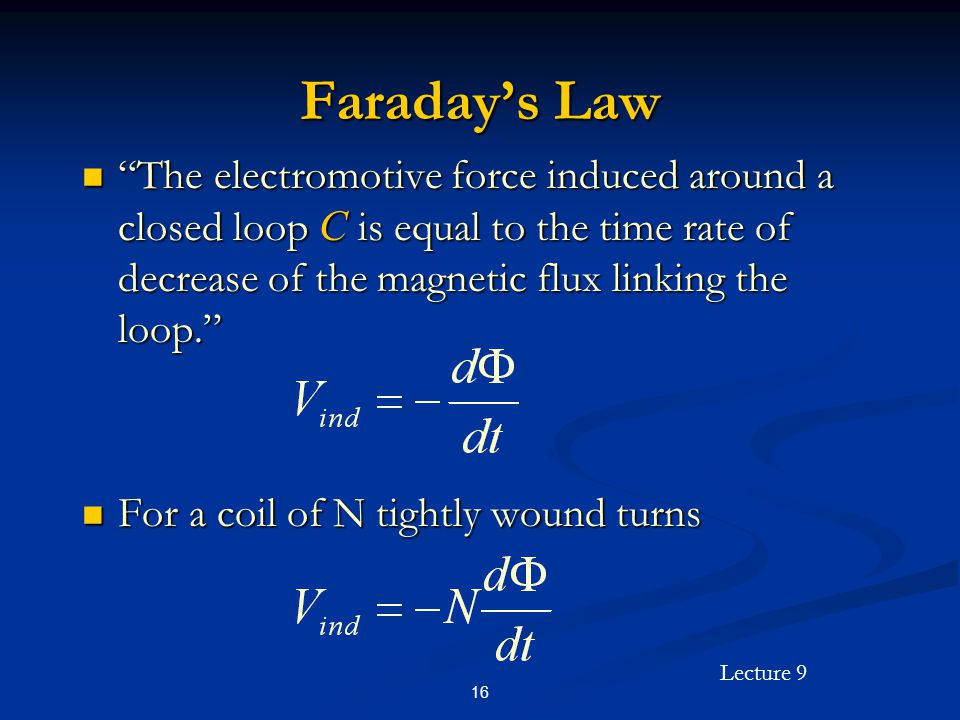 Lecture 9 16 Faradays Law The electromotive force induced around a closed loop C is equal to the time rate of decrease of the magnetic flux linking the loop.