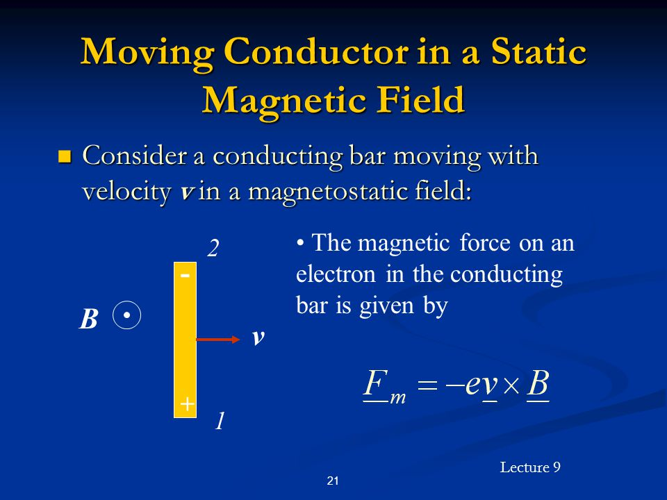 Lecture 9 21 Moving Conductor in a Static Magnetic Field Consider a conducting bar moving with velocity v in a magnetostatic field: Consider a conducting bar moving with velocity v in a magnetostatic field: B v 2 1 + - The magnetic force on an electron in the conducting bar is given by