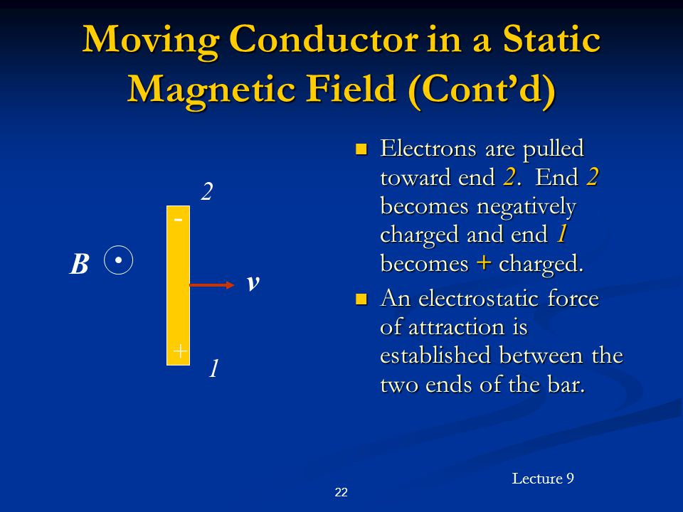 Lecture 9 22 Moving Conductor in a Static Magnetic Field (Contd) Electrons are pulled toward end 2.