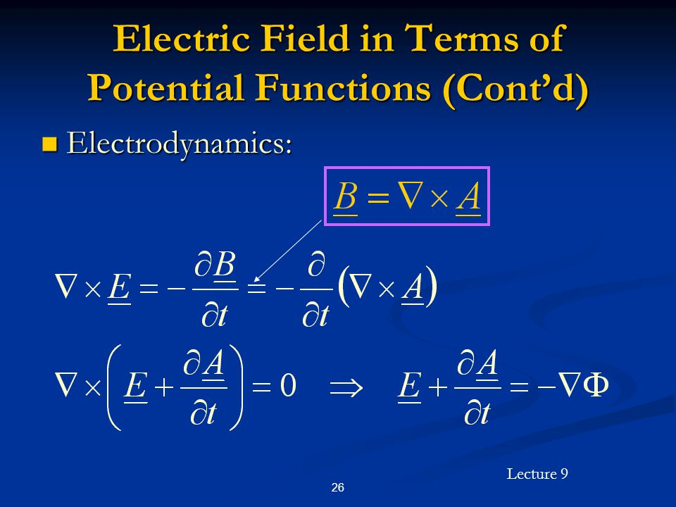 Lecture 9 26 Electric Field in Terms of Potential Functions (Contd) Electrodynamics: Electrodynamics: