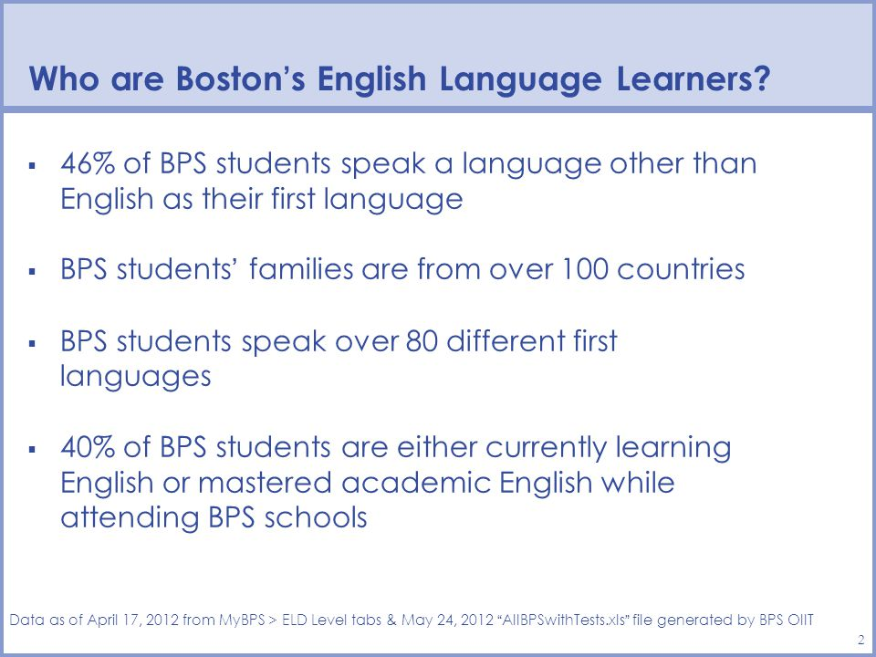 2 46% of BPS students speak a language other than English as their first language BPS students families are from over 100 countries BPS students speak