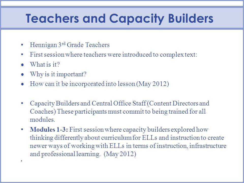 Teachers and Capacity Builders Hennigan 3 rd Grade Teachers First session where teachers were introduced to complex text: What is it.