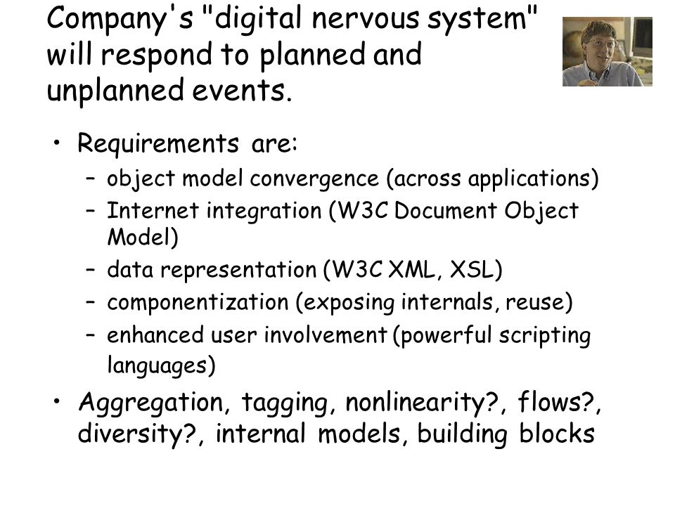 Company s digital nervous system will respond to planned and unplanned events.