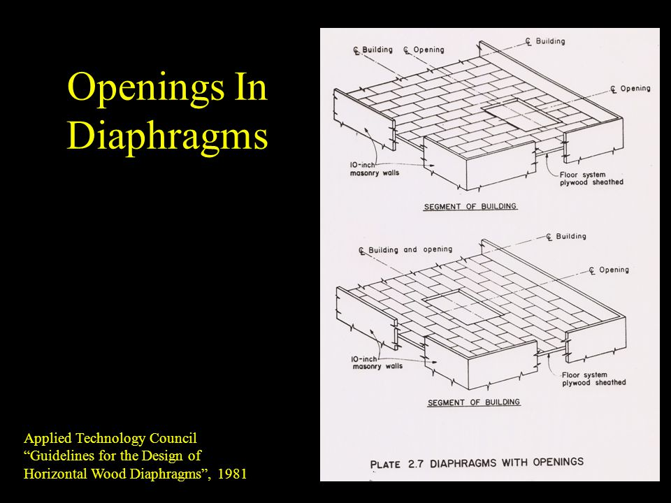 Openings In Diaphragms Applied Technology Council Guidelines for the Design of Horizontal Wood Diaphragms, 1981
