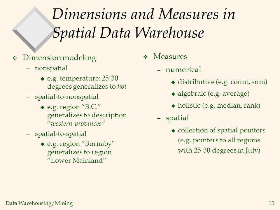 Data Warehousing/Mining 13 Dimensions and Measures in Spatial Data Warehouse v Dimension modeling –nonspatial u e.g. temperature: 25-30 degrees genera