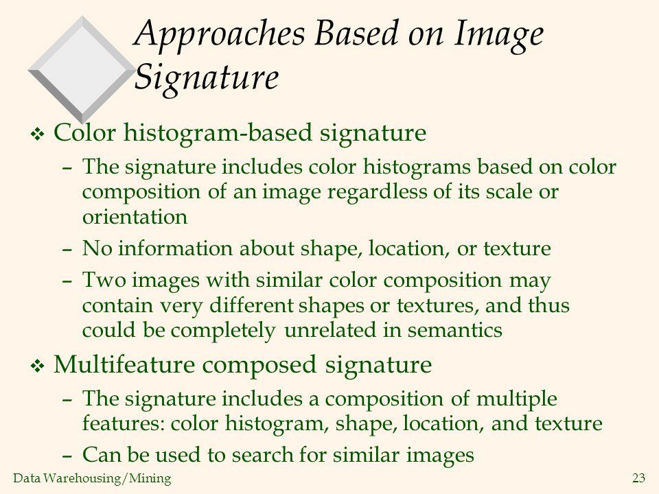 Data Warehousing/Mining 23 Approaches Based on Image Signature v Color histogram-based signature –The signature includes color histograms based on col