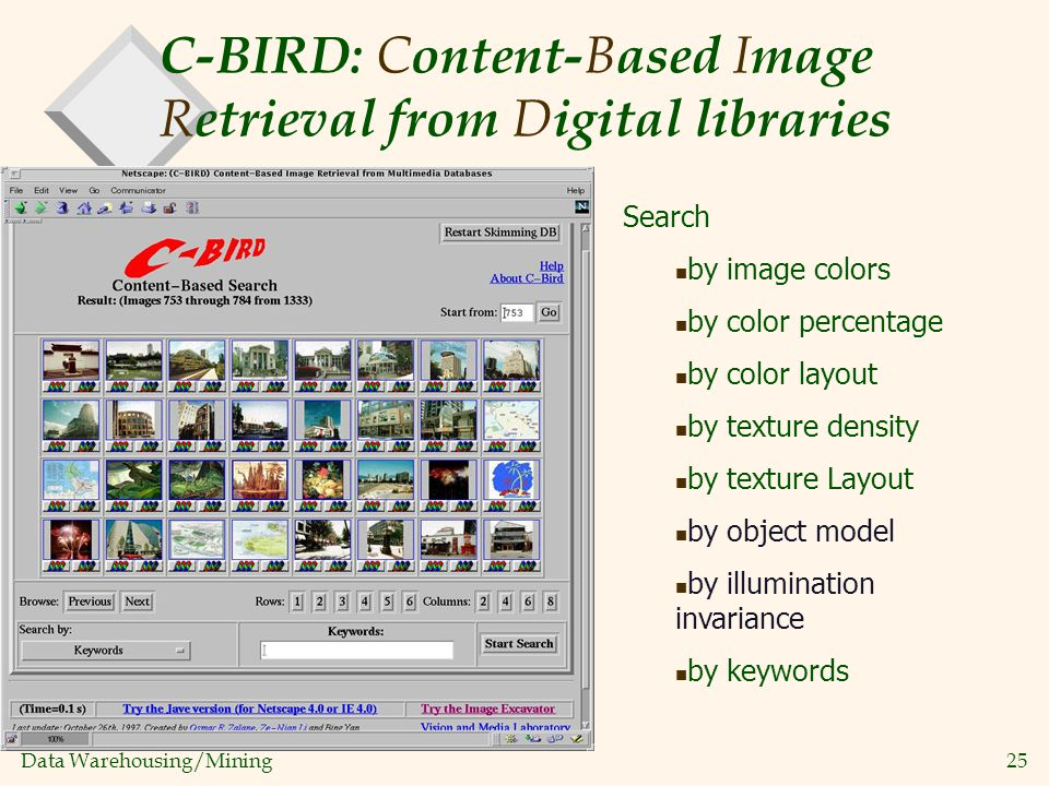 Data Warehousing/Mining 25 C-BIRD: C ontent- B ased I mage R etrieval from D igital libraries Search by image colors by color percentage by color layo