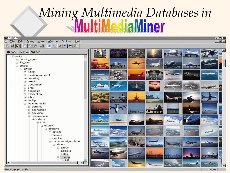 Data Warehousing/Mining 30 Mining Multimedia Databases in