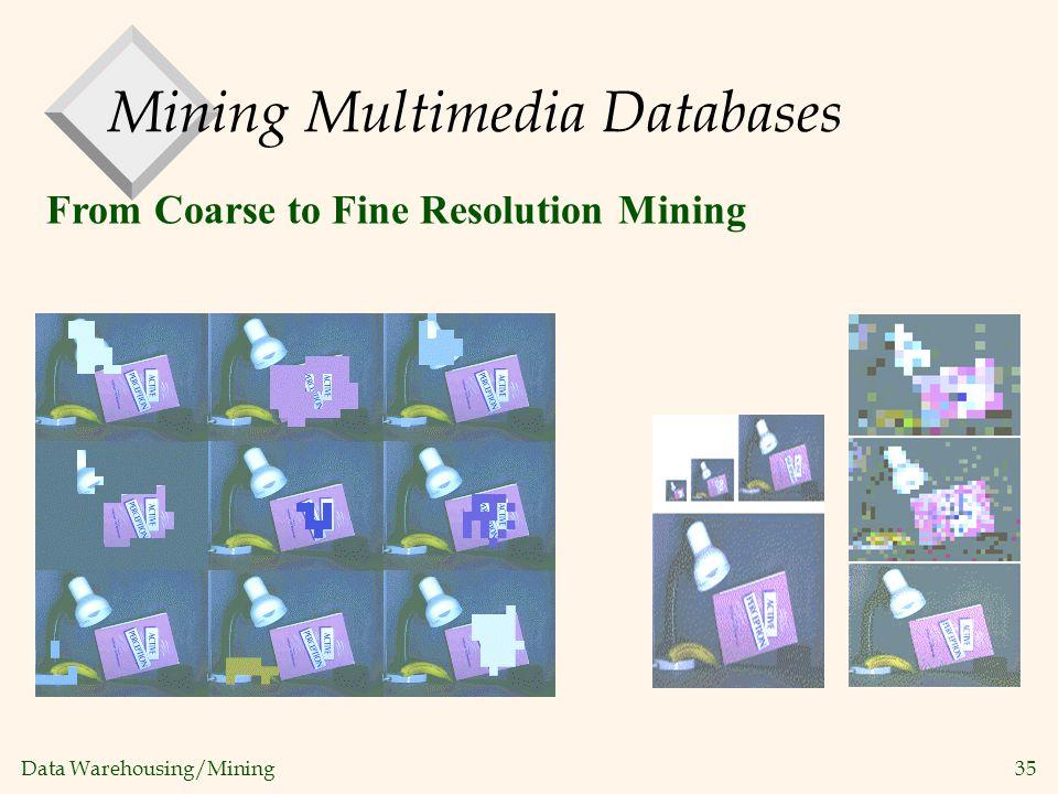 Data Warehousing/Mining 35 From Coarse to Fine Resolution Mining Mining Multimedia Databases