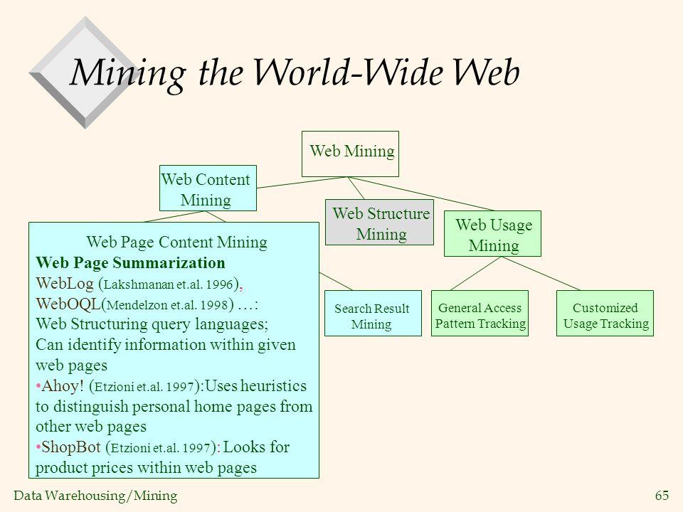 Data Warehousing/Mining 65 Web Mining Web Structure Mining Web Content Mining Web Page Content Mining Web Page Summarization WebLog ( Lakshmanan et.al