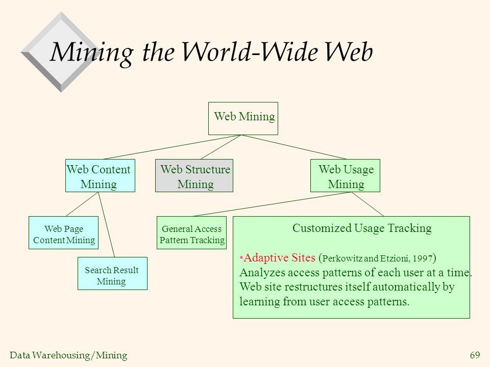 Data Warehousing/Mining 69 Web Mining Web Usage Mining General Access Pattern Tracking Customized Usage Tracking Adaptive Sites ( Perkowitz and Etzion