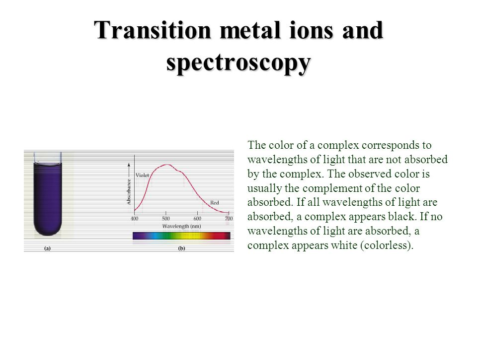 Transition metal ions and spectroscopy The color of a complex corresponds to wavelengths of light that are not absorbed by the complex. The observed c