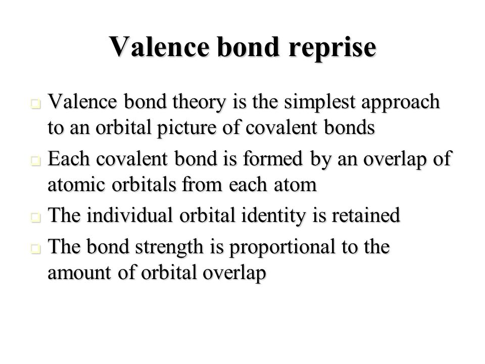 Valence bond picture in complexes In the conventional covalent bond, each atomic orbital brings one electron with it In the conventional covalent bond, each atomic orbital brings one electron with it In the coordination complex, the ligand provides both, while the metal orbital is empty In the coordination complex, the ligand provides both, while the metal orbital is empty