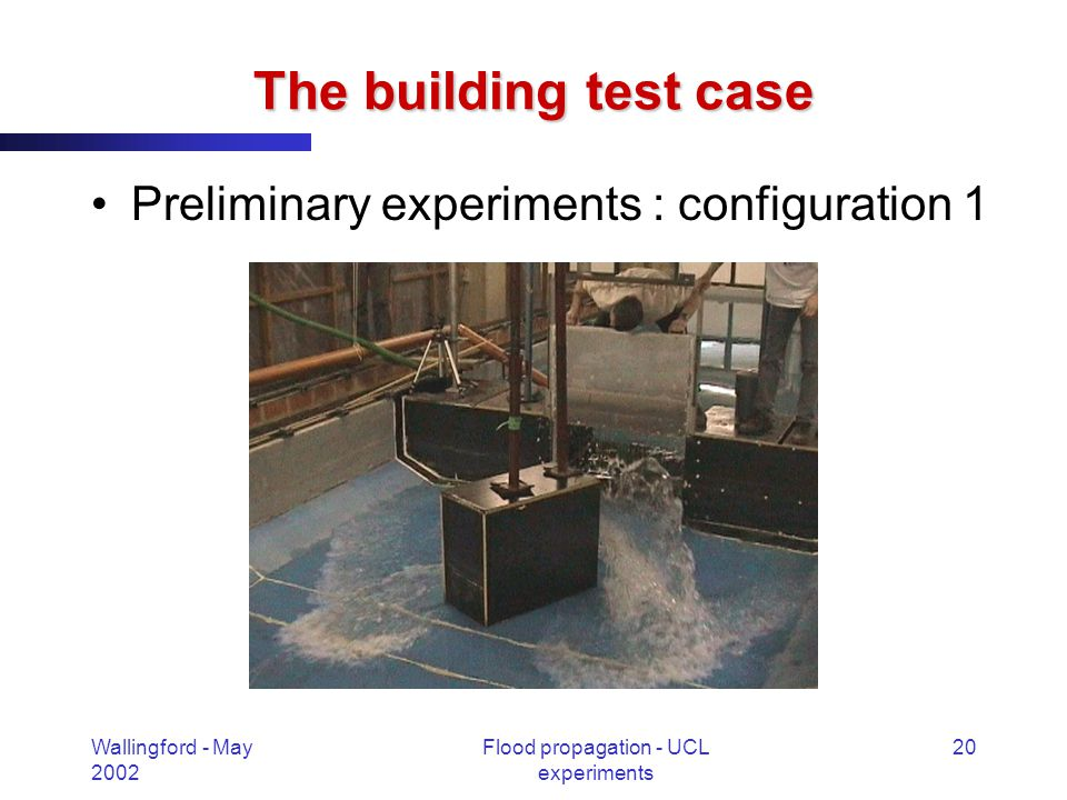 Wallingford - May 2002 Flood propagation - UCL experiments 20 The building test case Preliminary experiments : configuration 1