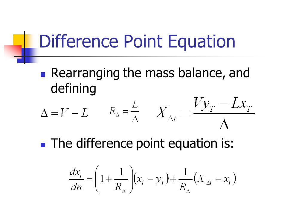 Difference Point Equation Rearranging the mass balance, and defining The difference point equation is: