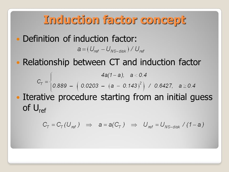 Induction factor concept Definition of induction factor: Relationship between CT and induction factor Iterative procedure starting from an initial gue