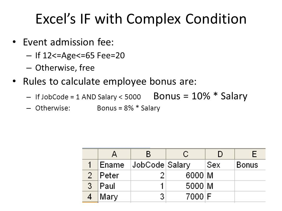 Excels IF with Complex Condition Event admission fee: – If 12<=Age<=65 Fee=20 – Otherwise, free Rules to calculate employee bonus are: – If JobCode =