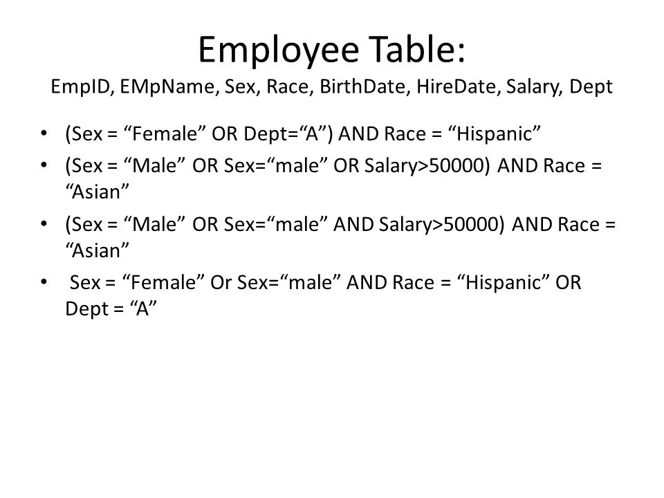 Employee Table: EmpID, EMpName, Sex, Race, BirthDate, HireDate, Salary, Dept (Sex = Female OR Dept=A) AND Race = Hispanic (Sex = Male OR Sex=male OR Salary>50000) AND Race = Asian (Sex = Male OR Sex=male AND Salary>50000) AND Race = Asian Sex = Female Or Sex=male AND Race = Hispanic OR Dept = A