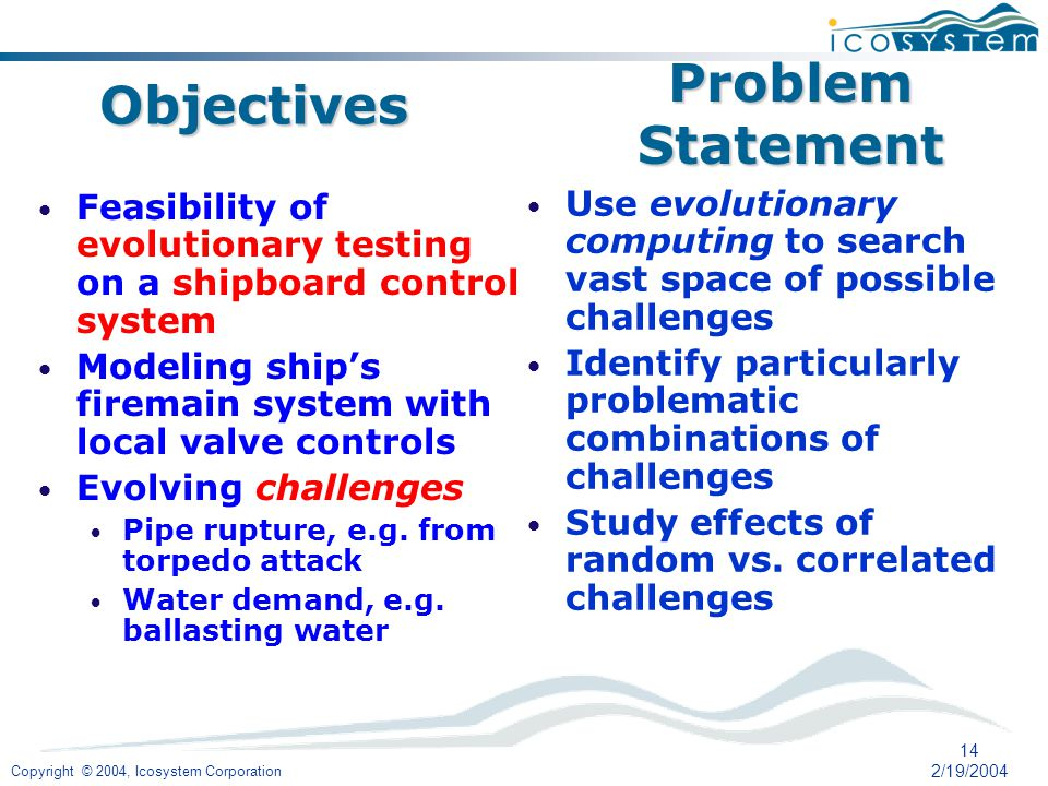 Copyright © 2004, Icosystem Corporation 14 2/19/2004 Feasibility of evolutionary testing on a shipboard control system Modeling ships firemain system with local valve controls Evolving challenges Pipe rupture, e.g.