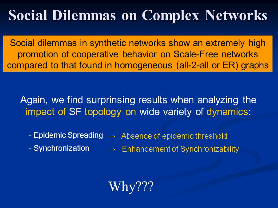 Social Dilemmas on Complex Networks Again, we find surprinsing results when analyzing the impact of SF topology on wide variety of dynamics: - Epidemic Spreading - Synchronization Absence of epidemic threshold Enhancement of Synchronizability Why .