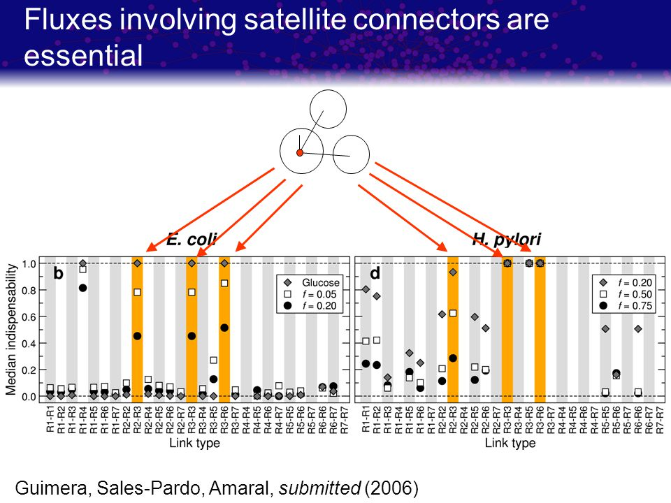 Fluxes involving satellite connectors are essential Guimera, Sales-Pardo, Amaral, submitted (2006)