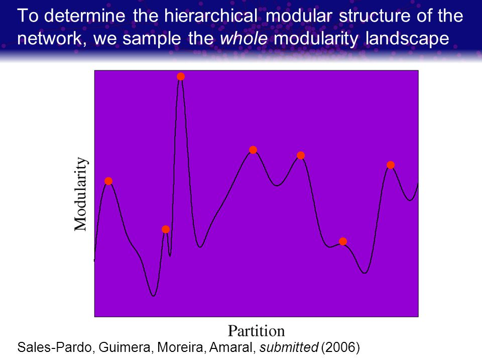 To determine the hierarchical modular structure of the network, we sample the whole modularity landscape Sales-Pardo, Guimera, Moreira, Amaral, submit