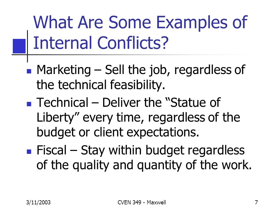 3/11/2003CVEN 349 - Maxwell6 What Are Some Examples of External Conflicts? Schedule Changes Scope Creep / Design Changes Change Orders Local Building