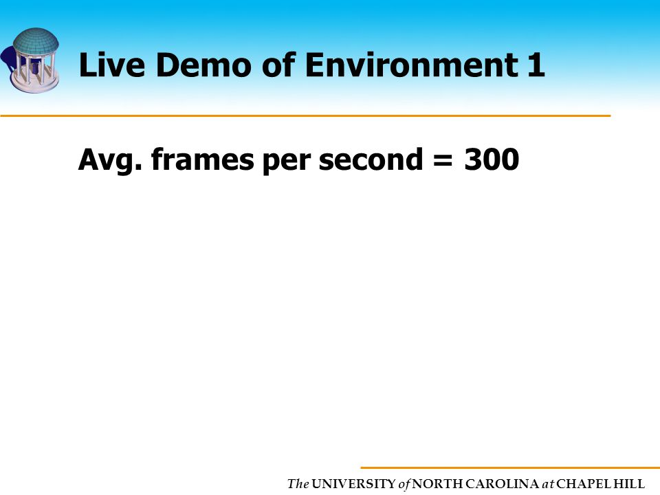 The UNIVERSITY of NORTH CAROLINA at CHAPEL HILL Live Demo of Environment 1 Avg.
