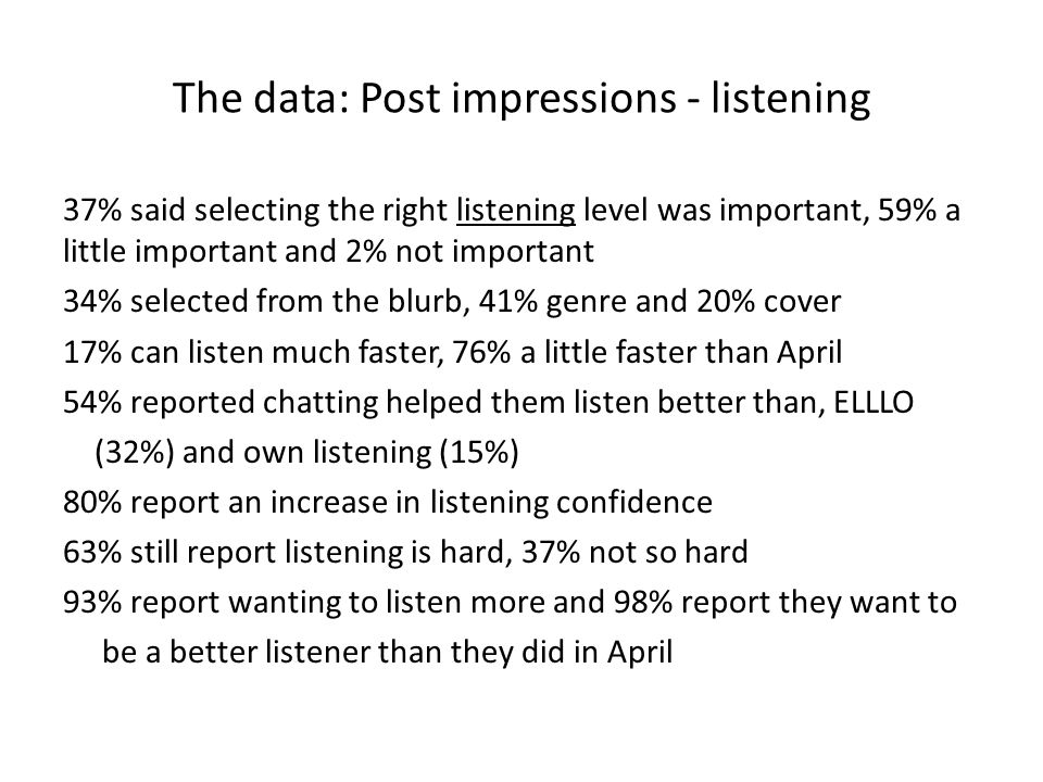 The data: Post impressions - listening 37% said selecting the right listening level was important, 59% a little important and 2% not important 34% selected from the blurb, 41% genre and 20% cover 17% can listen much faster, 76% a little faster than April 54% reported chatting helped them listen better than, ELLLO (32%) and own listening (15%) 80% report an increase in listening confidence 63% still report listening is hard, 37% not so hard 93% report wanting to listen more and 98% report they want to be a better listener than they did in April