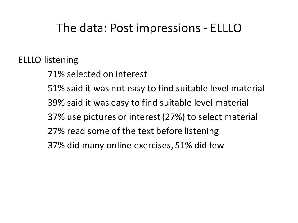 The data: Post impressions - ELLLO ELLLO listening 71% selected on interest 51% said it was not easy to find suitable level material 39% said it was easy to find suitable level material 37% use pictures or interest (27%) to select material 27% read some of the text before listening 37% did many online exercises, 51% did few