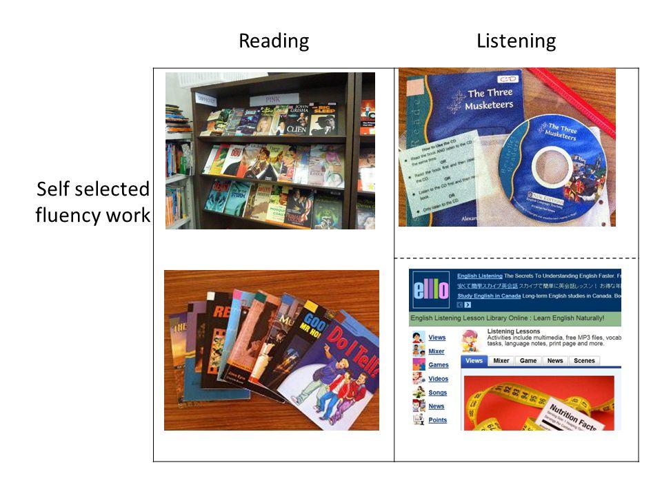 ReadingListening Self selected fluency work
