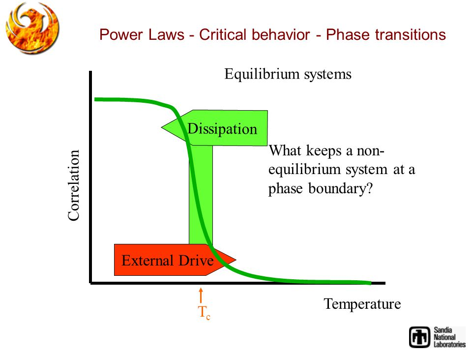 Dissipation External Drive Temperature Correlation Power Laws - Critical behavior - Phase transitions TcTc What keeps a non- equilibrium system at a phase boundary.