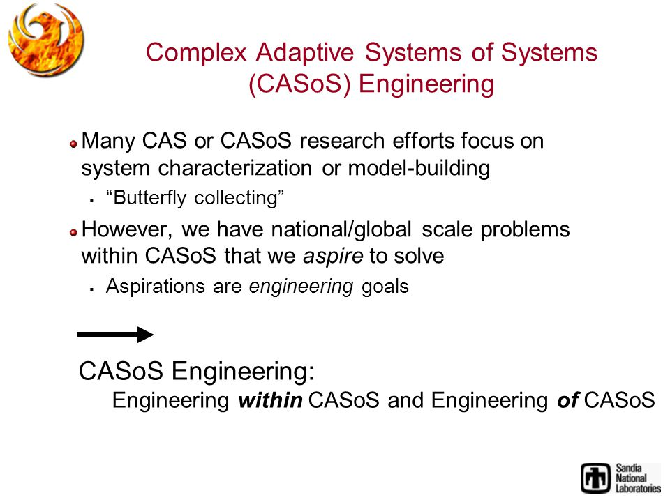 Complex Adaptive Systems of Systems (CASoS) Engineering Many CAS or CASoS research efforts focus on system characterization or model-building Butterfly collecting However, we have national/global scale problems within CASoS that we aspire to solve Aspirations are engineering goals CASoS Engineering: Engineering within CASoS and Engineering of CASoS