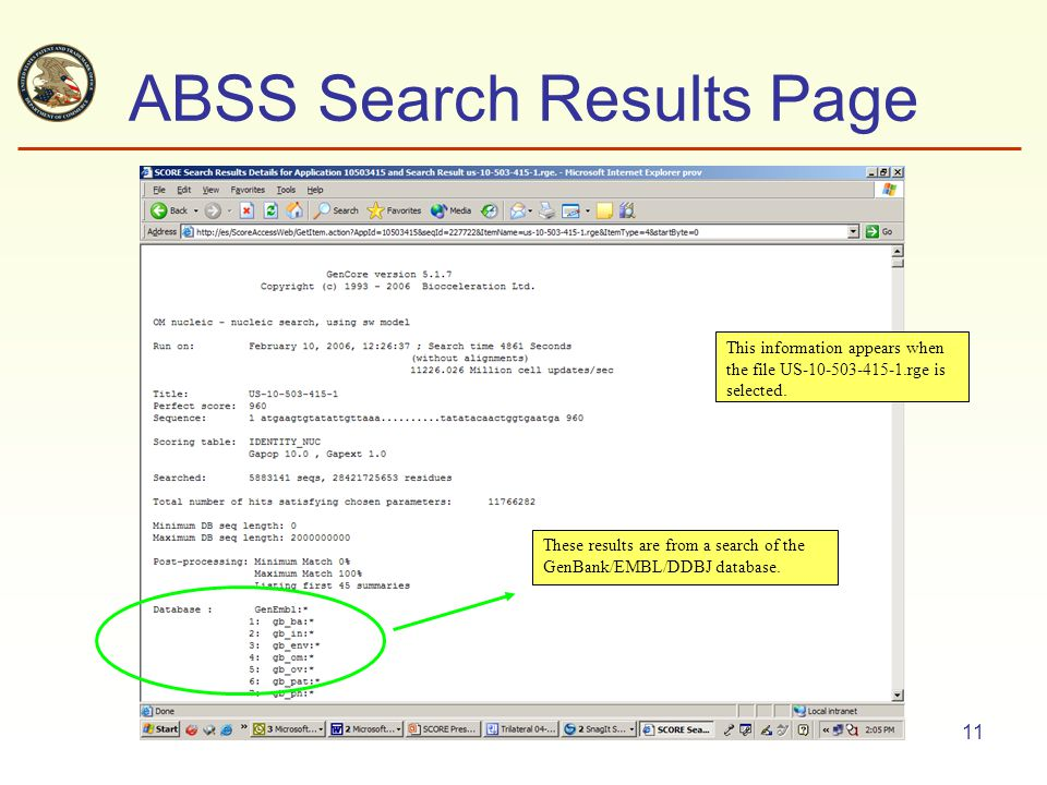 11 ABSS Search Results Page This information appears when the file US-10-503-415-1.rge is selected.