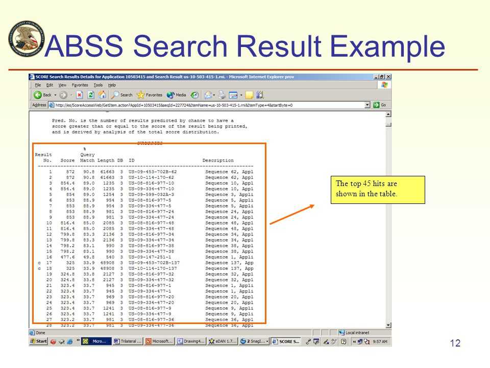 12 ABSS Search Result Example The top 45 hits are shown in the table.