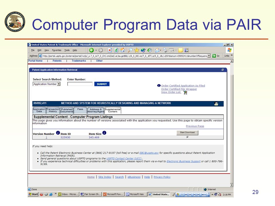 29 Computer Program Data via PAIR