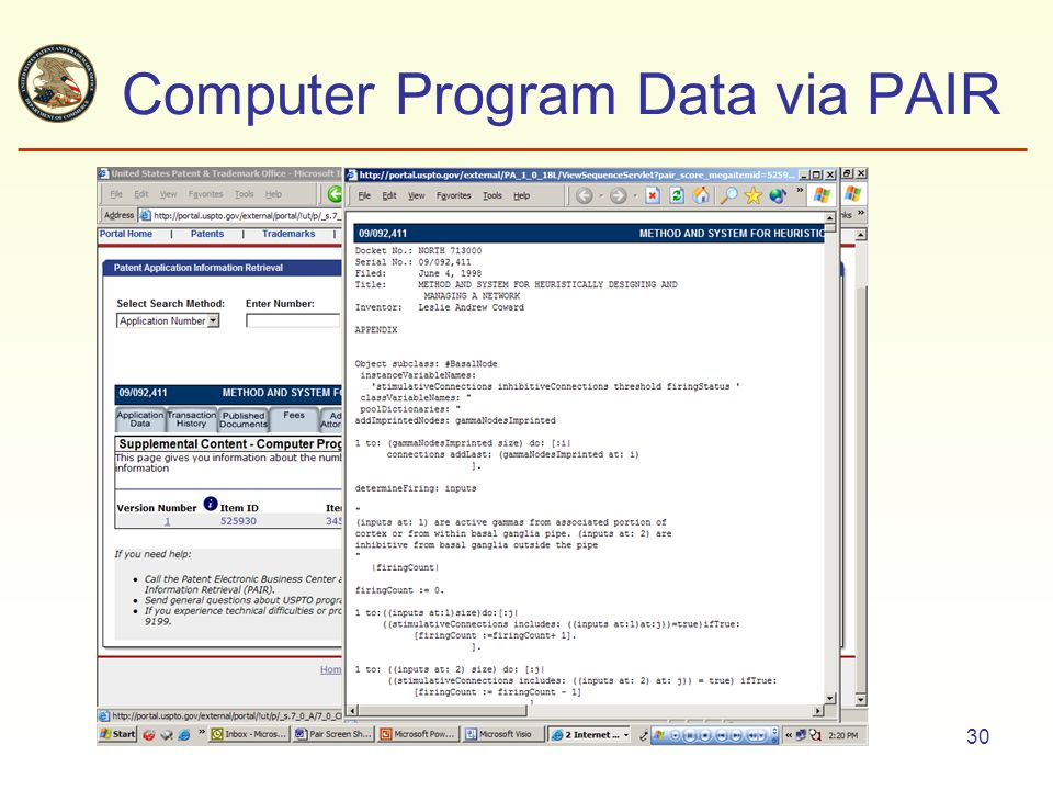 30 Computer Program Data via PAIR