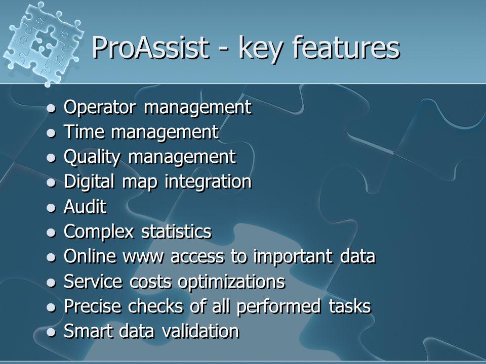 ProAssist - key features Operator management Time management Quality management Digital map integration Audit Complex statistics Online www access to