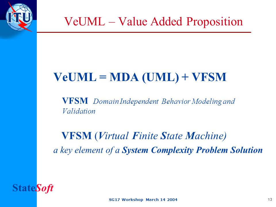 StateSoft SG17 Workshop March 14 2004 13 VeUML – Value Added Proposition VeUML = MDA (UML) + VFSM VFSM Domain Independent Behavior Modeling and Validation VFSM (Virtual Finite State Machine) a key element of a System Complexity Problem Solution