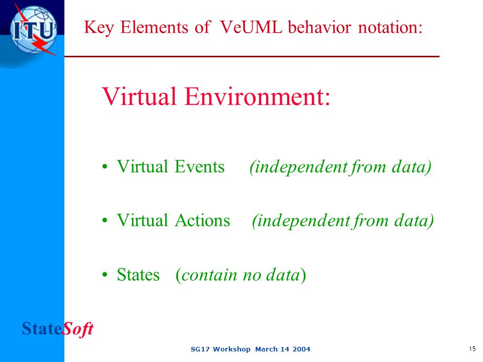 StateSoft SG17 Workshop March 14 2004 15 Key Elements of VeUML behavior notation: Virtual Environment: Virtual Events (independent from data) Virtual Actions (independent from data) States (contain no data)
