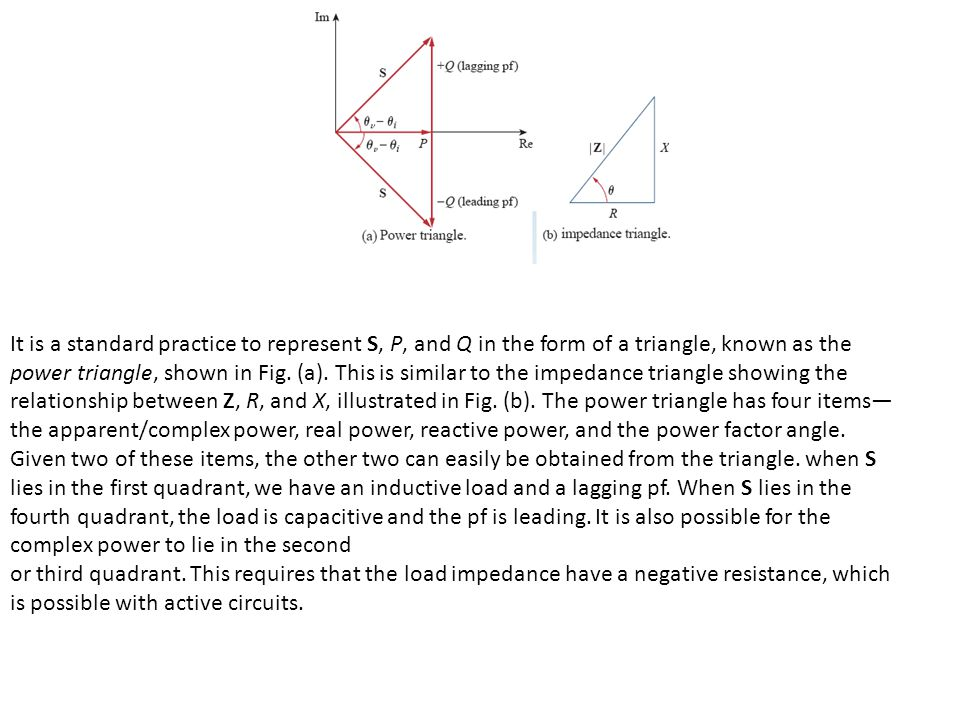 It is a standard practice to represent S, P, and Q in the form of a triangle, known as the power triangle, shown in Fig.