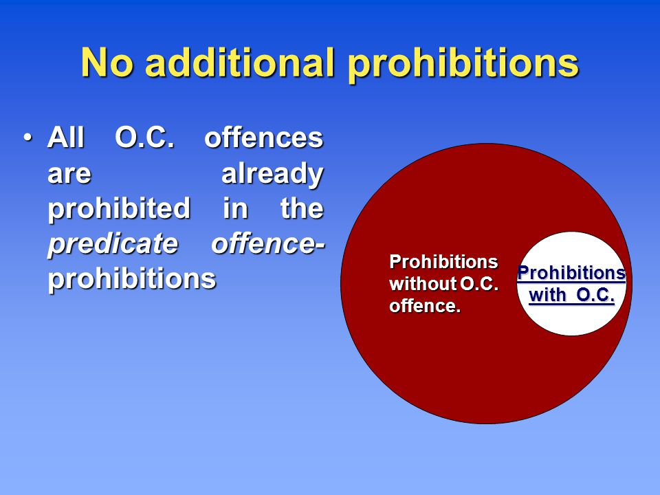 Prohibitions without O.C. offence. Prohibitions with O.C.